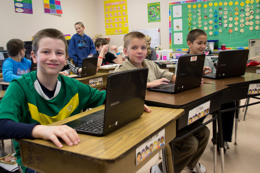 Chrome books are frequently used in schools.