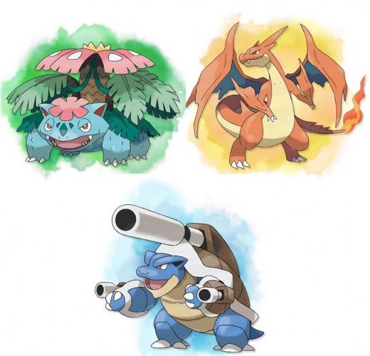 Mega Venusaur, Mega Charizard, and Mega Blastoise