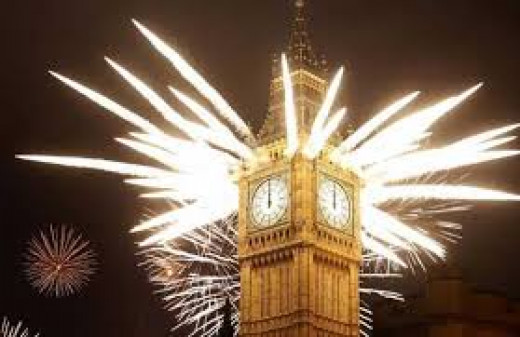 Big Ben in London lights up on New Year's eve