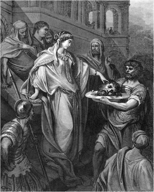 Herod's daughter receives the head of John the Baptist. ―Matthew 14