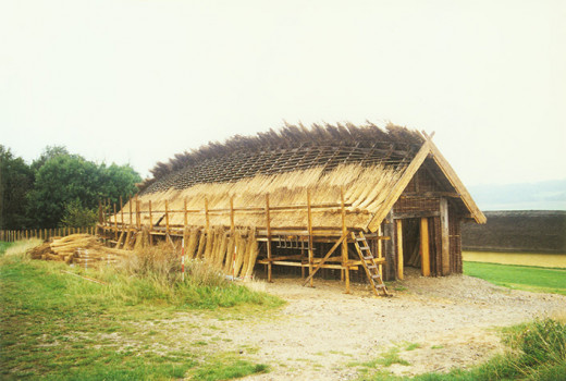 Fyrkat, Jylland (Jutland) longhouse reconstruction under way
