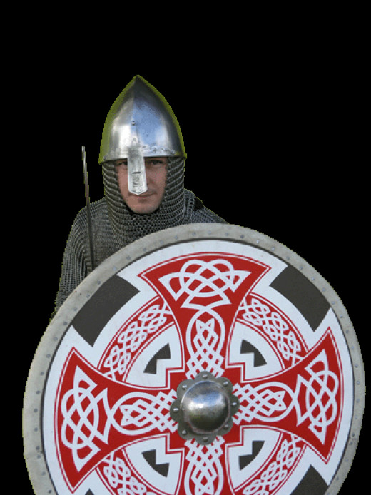 Dane in chain mail with decorated shield - an organised army, training camps and a network of fortresses around their kingdom gave them an edge over the other Scandinavian kingdoms in the late 10th and early-mid 11th Centuries.