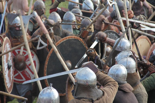 The clash - shieldwalls push and shove, more men join to bolster numbers and add weight. It goes on all day until one side buckles. A pitched battle ensues, turning into a series of smaller skirmishes.  Weight of numbers tells, then the chase begins.