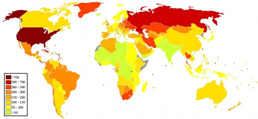 Incarceration rate map. Which is safer, yellow or red?
