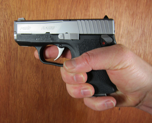 Note that the finger is NOT on the trigger and is outside of the trigger guard.