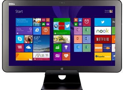 Flat Screen show casing Windows 8