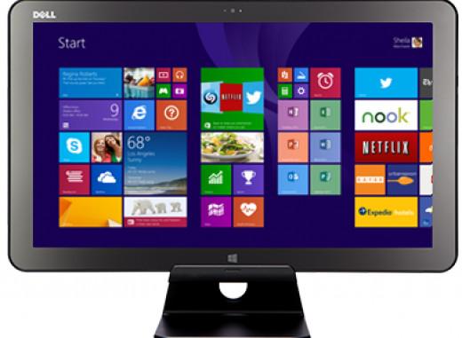 Flat Screen show casing Windows 8