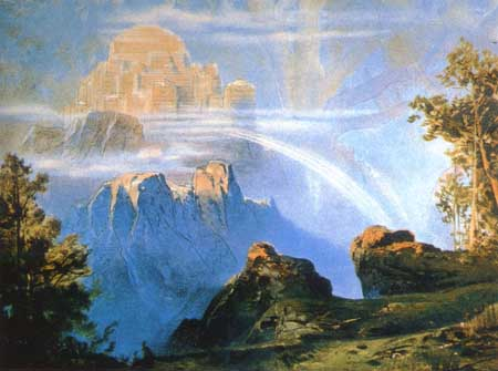 Looking toward Asgard, home of the Aesir - and Vanir after the conclusion of peace between the two groups of gods  Heimdall guards the rainbow bridge Bifrost by which the gods reach Midgard
