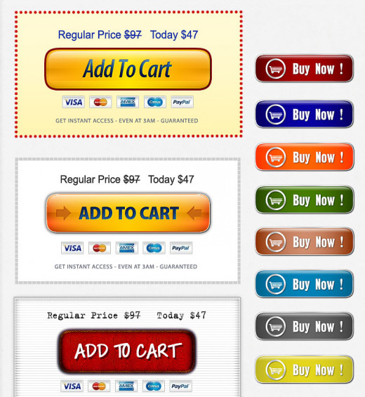 These shopping cart buttons are great for online shopping carts be it on your blog or website.