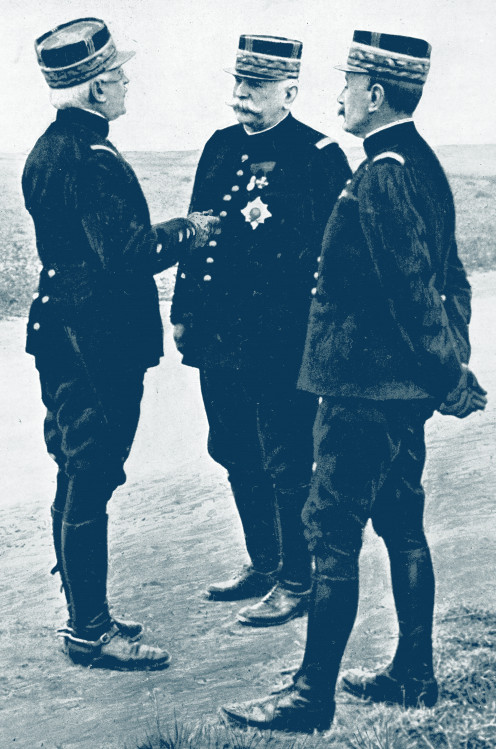 Famous French leader: Foch (right), Joffre (centre) & D'Urbal (left)