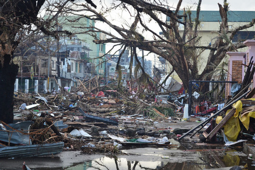 Aftermath, Typhoon Haiyan.  Photo by 'Trocaire,' courtesy Wikimedia Commons.