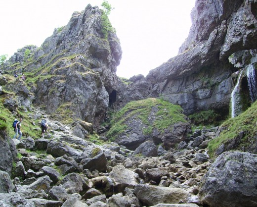Gordale Scar rocks - a magnet for scramblers - the footpath to the gate gets the less able-bodied close enough to the foot of the rockfall