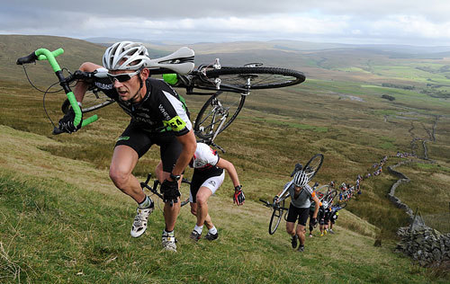 The leaders in the Three Peaks Cyclo-Cross race - three sets of cycles are used with tyres for road, cross country uphill and soft ground