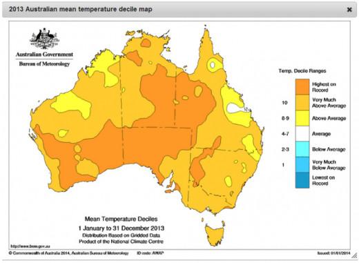 Australian heat, 2013.  Image courtesy Commonwealth of Australia Bureau of Meteorology.