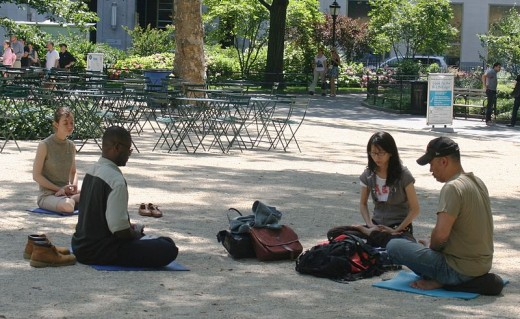 Meditating in Madison Square Park, Manhattan, New York City