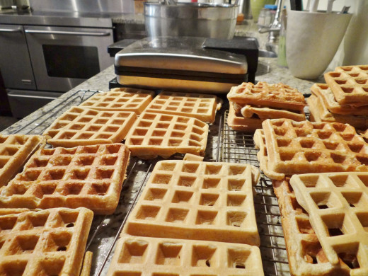 Cooling a triple batch of waffles before freezing