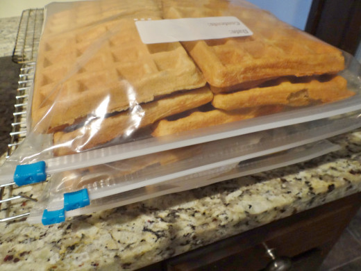 Waffles stored in freezer bags ready to freeze