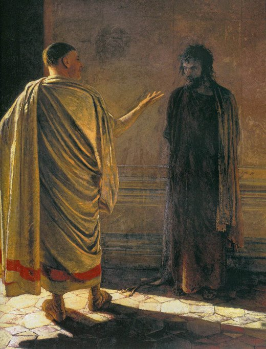 Pilate questions Jesus.