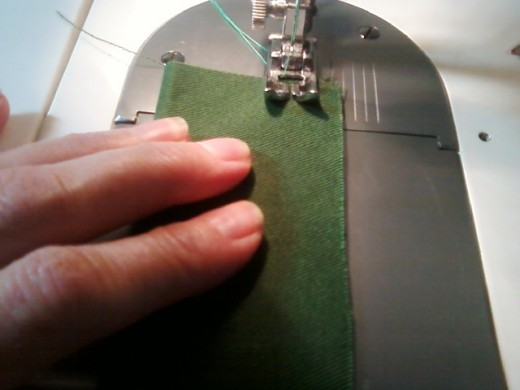 "Sewing the neck loop with a 1/2"" seam."