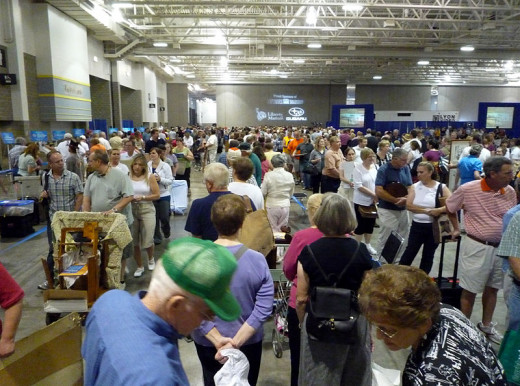 This photo taken by Bobak Ha'Eri, on July 11, 2009 in Madison, Wisconsin shows a small portion of the people waiting in line to see a general appraiser before waiting in other lines to have their items appraised.