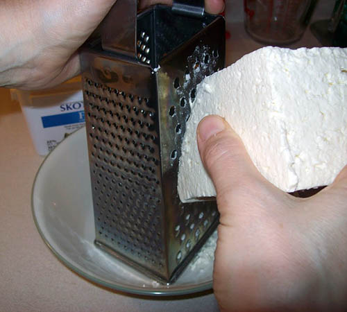 Grating Feta Cheese