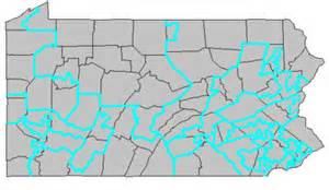 The Penn. Federal Districts laid over the Penn. Counties