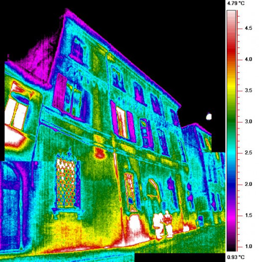 Infrared imaging, also called thermal imaging, can pinpoint areas where heat transfer causes less energy efficiency.