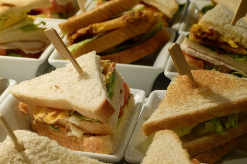 Serve sandwiches with different fillings.