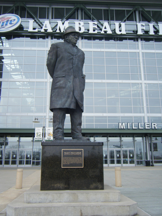 The statue of Vince Lombardi outside of the stadium