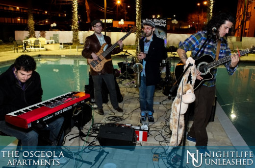 The band performing at the Night Life Unleashed event at the Osceola Apts. in Tallahassee.