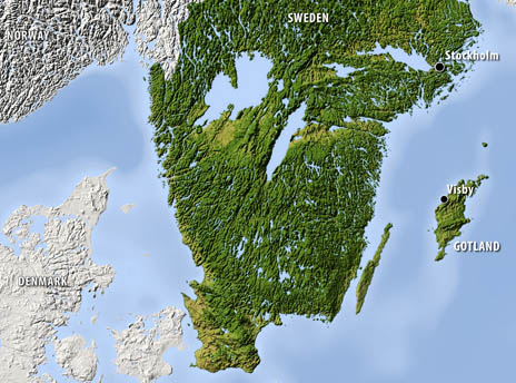 Coast of Sweden with Gotland 'anchored alongside'