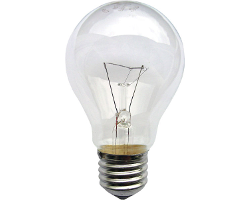 Typical incandescent light bulb.