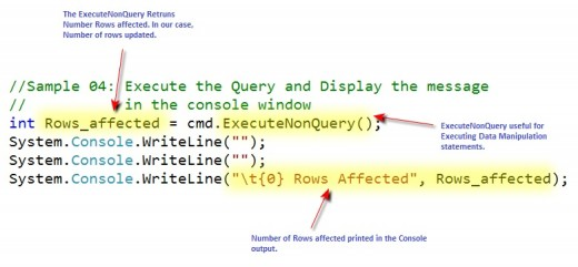 ExecuteNonQuery Return Value