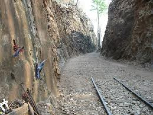 Many died as the prisoners were driven to dig through this solid rock to make a railway pass.