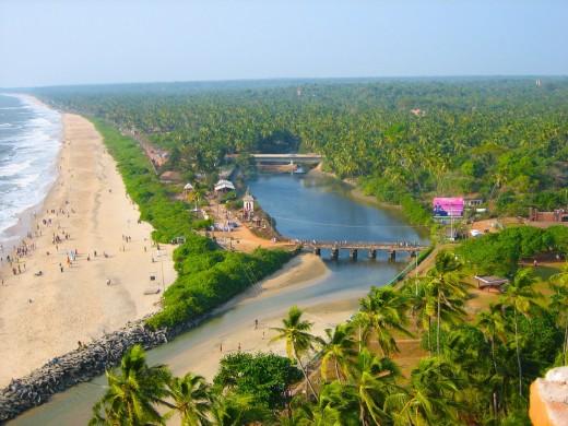 Aerial View Of Payyambalam Beach.