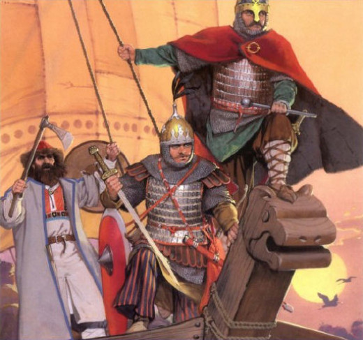 Rhos or Rus mercenaries, who formed an elite body of warriors loyal to the emperor only. These men helped him crush his enemies with their ferocity