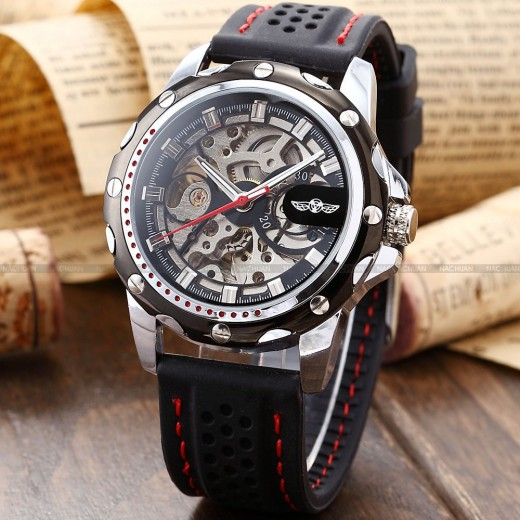 Men's Skeleton Automatic Mechanical Sport Band Wrist Watch