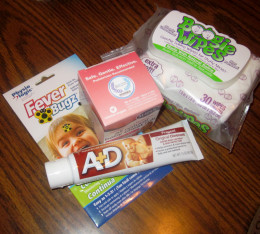 Fever Bugs for wiggly babies with fevers, A&D for baby diaper rash, chest rub for the cough and cold, and boogie wipes for those hard to get boogers