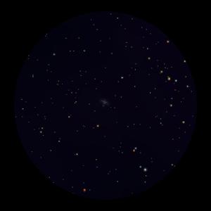 Star cluster M36 as seen through binoculars (center).