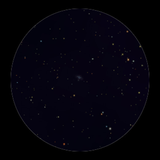 Star cluster M36 as seen through binoculars (center).