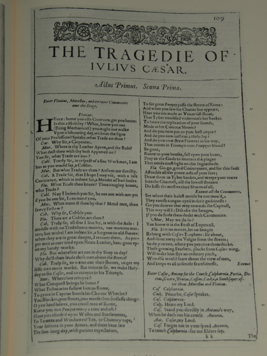Facsimile of the first page of Julius Caesar from the First Folio, published in 1623