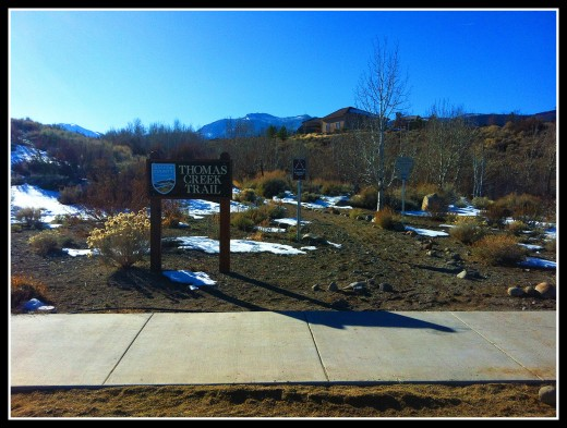 The start of the Lower Thomas Creek trail at the official trailhead.
