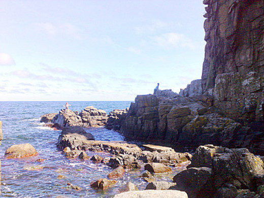 Cliffs and skerries on Bornholm, off the southern coast of Skaane
