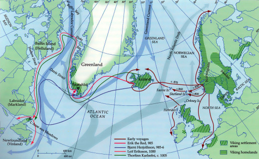Viking discoveries in the west, North America, Faeroes,Greenland and Iceland as well as the isles around Scotland and Ireland. Then also England, mainland Scotland, Ireland and Normandy