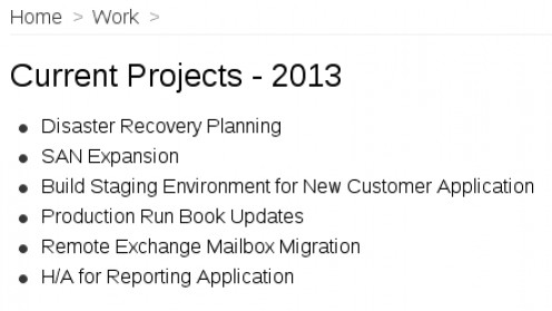 Project list as seen in Workflowy.