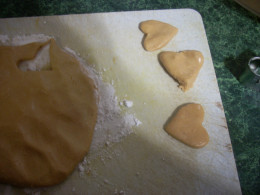 Cutting Out the Peanut Butter Dough Hearts