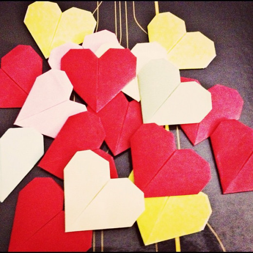 Origami hearts are easy and inexpensive to make!