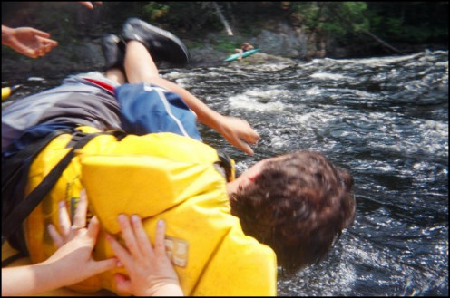 Me being tossed out of the boat to become initiated. My first trip down the Kennebec. 2008