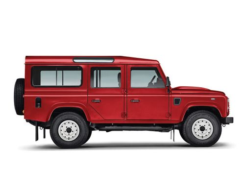 Red long wheelbase Defender Estate - Defenders were the last of the 'Series' Land Rovers. Production of these ceased in 2018 at the Solihull works, subsequently raising the price of all second-hand Defenders, Series I, II, IIA and III.