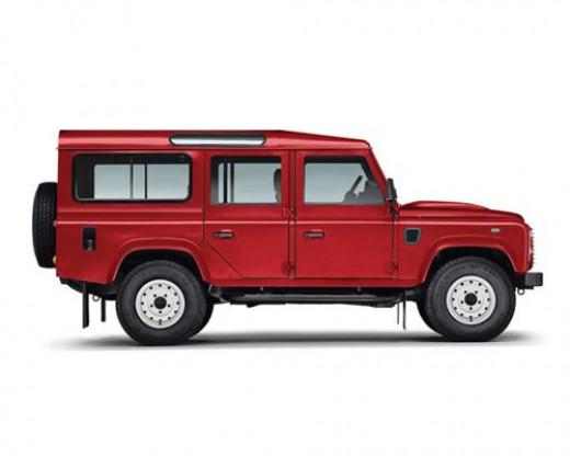 Red long wheelbase (lwb) Defender Estate